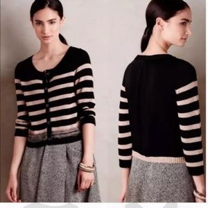 Anthropologie Crop Striped Black Cardigan Medium